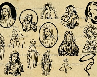 Digital SVG PNG JPG Virgin Mary, mary mother of jesus, vector, clipart, silhouette, instant download