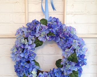Beautiful Blue Hydrangea Wreath