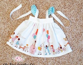 Flutter Sleeve Dress - Tie Back - Blue Gingham - White - Children at Play - Baby Girl