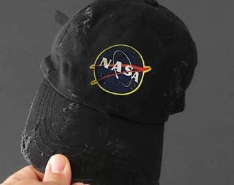 Nasa Black Dad Hat Strapback Cap