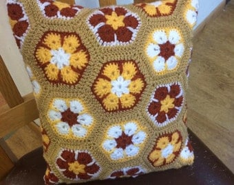 Caramel and white cushion - 12x 12 inch - african flower cushion