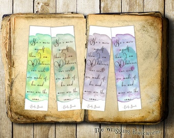 Printable Bookmarks | Wuthering Heights | Emily Bronte | The Bronte Sisters | Instant Download | Print at Home | Set of 4 | Cathy Heathcliff