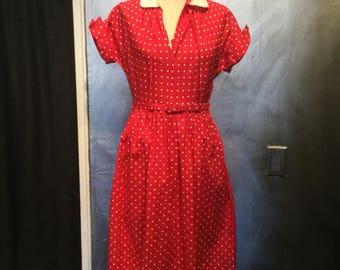 1950s red polka dot dress with belt/nautical dress/sailor dress/-M