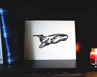 Whale Print- Hand Pulled Screen Print, Wall Art, Hand Drawn Sketch, Animal Print