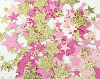 Pink Paper Gold Glitter Confetti, Star Party Confetti, Table Confetti, Twinkle Little Star, First Birthday, Baby Girl Shower, Party Decor