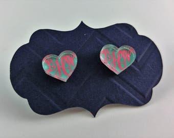 Personalized Heart Monogram Stud Earrings