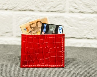 Croco red Leather Minimalist LeatherWallet, Genuine Buffalo leather purse, Leather credit card holder