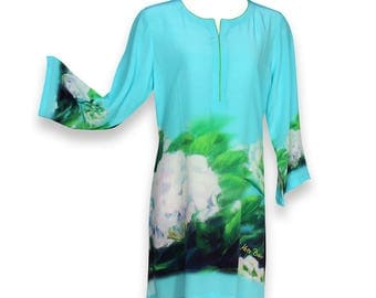 "Tunic  ""White Hydrangeas"" in Silk or Linen"