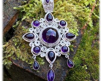 Stunning huge sterling silver tribal Amethyst chandelier style pendant