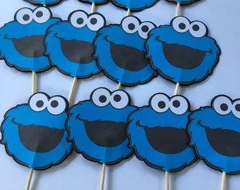 12 Cookie Monster Cupcake Toppers