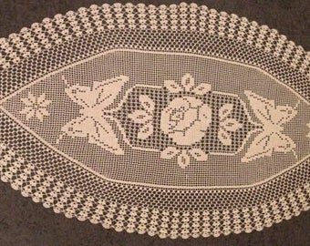 FREE SHIPPING, Crocheted Doily Butterfly,  Crochet tablecloth, table runner, Oval doilies, Beige crochet doily, Gift for mom, Vintage doily