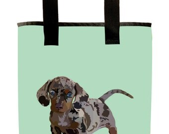 Reuseable Market Bag - Made from Recycled Materials - Eco-Friendly - Washable - Grocery Bag - Dapple Dachshund Dog - Seafoam Green