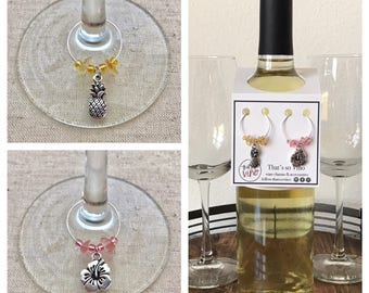 Pineapple & Hibiscus Wine Charms