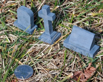 Headstone - (Set of 6)- Gravestone Grave Marker Graveyard Cemetery Model Train Diorama Scale Model 3D Printed Plastic Doll House Miniature