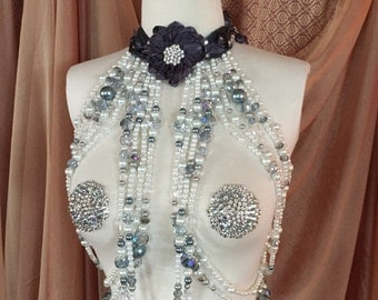 Burlesque Showgirl Beaded Harness/Necklace Matching Pasties