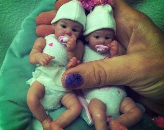 OOAK dolls Twins 5 in by V.Vihareva-Pechenkina