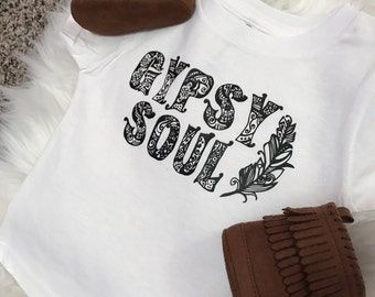 Gypsy Soul// Onesie// T-Shirt// Boho// Feather