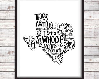 Texas A&M Digital Download Instant Print