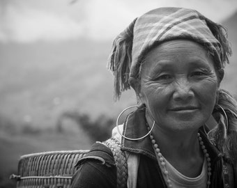 Woman's portrait, Sapa, Vietnam - Print Photograph/Black and White/People/Travel Photography/Wall Art/Home Decor
