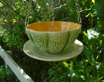 Looks Ripe To Me! Hand Crafted, Ceramic, Large Bowl, Hanging, Cantaloupe, Bird Feeder