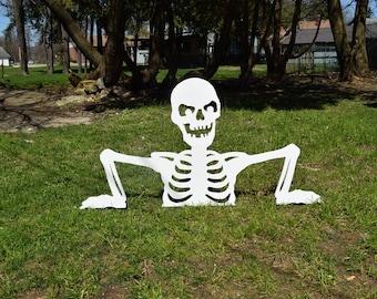 halloween skeleton yard stakes garden stakes lawn stakes outdoor halloween decor wood - Halloween Garden Stakes