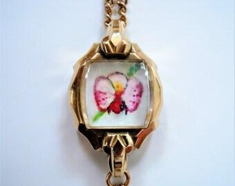 Orchid miniature painting pendant