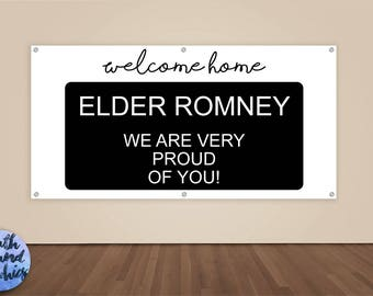Missionary Banner - Welcome Home - Missionary Homecoming Vinyl Sign - Missionary Welcome Home Elder Banner - LDS Missionary Homecoming Sign