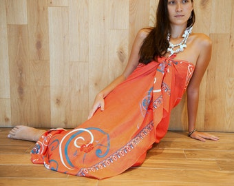 Pareo Sarong Scarf Coral color Surfboard and Hibiscus flowers with butterflies, Fashion Scarf, Women Accessories, Gift For her