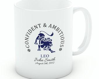 Personalised Leo Mug – 11oz White Porcelain Zodiac Mug, Birthday Gift (M119)