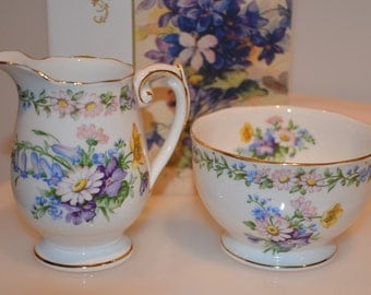 "English Bone China Cream and Sugar Set by Roslyn in ""Garland"" Pattern"