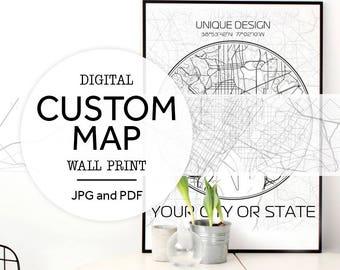 Custom City Map, Custom Map Print, Map Printable, Custom Map Art, Personalized Map Art, City Map Print, City Map Art, Map Wall Art, City Art