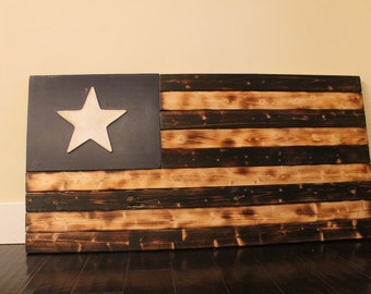 Large Single Star Navy Torched Flag