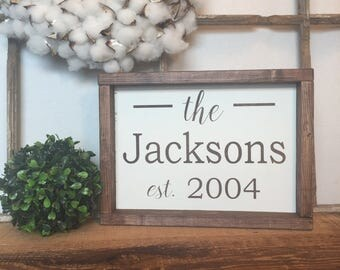 Wedding Gift, Custom last name wood sign with established year, Personalized family name sign, mother's day gift, housewarming gift,