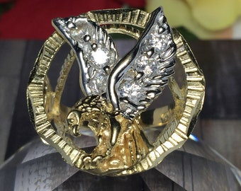 HUGE 10k solid gold Men's Eagle ring