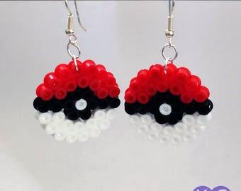 Pokemon Inspired Earrings, Earrings, Pokeball Inspired, Pokemon, Pokeball, Hama Earrings, Perler Earrings, Bead Earrings, Circle Earrings.