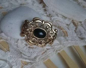 Black Pearl - vintage brooch with black Cabouchon, Baroque, Rococo, retro