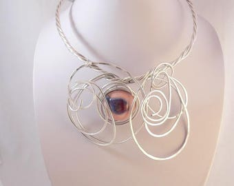 Silver wire statement necklace.Unique wearable art.Bold and Chunky.Modern and Abstract.Funky.