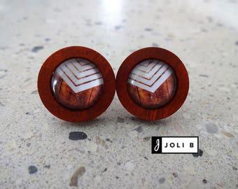 Wood, stainless steel, glass earrings