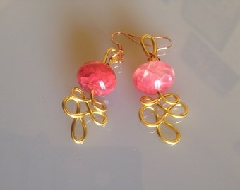 Earrings with Pink Stones and Golden Thread.