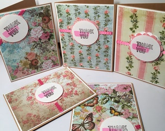 Set of 5 Thank You Note / Cards blank inside