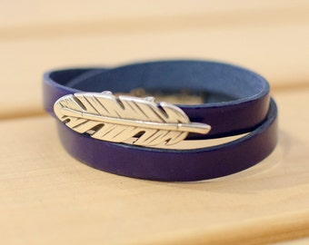 Dark blue flat leather bracelet, with zinc alloy, two laps bracelet women, pen gift bracelet, bracelet boho, magnetic clasp, 39cm