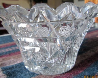 Vintage Cut Crystal Dish circa 1920-1930