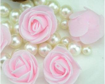100 Pcs Mini Artificial Rose Heads - Light Pink