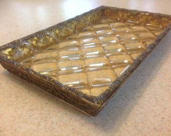 Vintage Lucite Tray with Gold Decorative Encased Sides