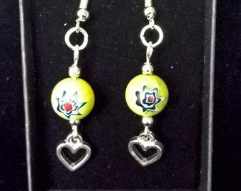 Heart Charm green bead dangle earrings
