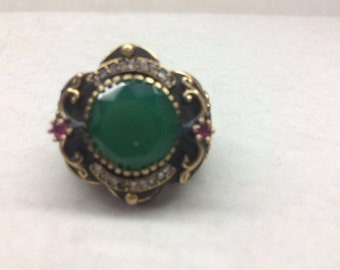 Sterling Silver 925 Ring with Brass and Green Stone Size 10 with CZ stones