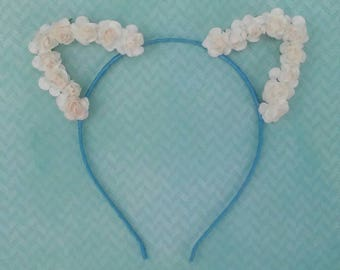 White floral cat ears headband