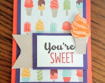 You're Sweet Card, thank you card, homemade card, blank inside card