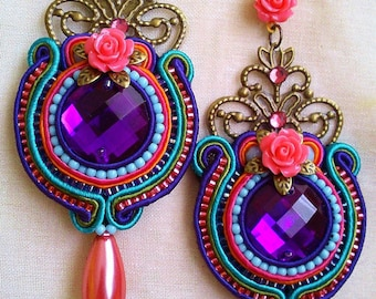 Pending soutache in blue turquoise, purple and pink salmon