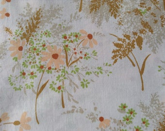 Vintage double bed sheet, floral double flat sheet